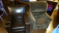 Two children's recliners 1 leather 1 cloth $40 each obo