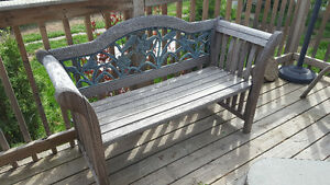 Wood and cast iron bench