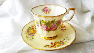 Elizabethan Staffordshire bone china cup saucer Hand Decorated