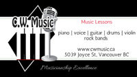 Music Lessons: Piano, Voice, Guitar, Violin, Drums
