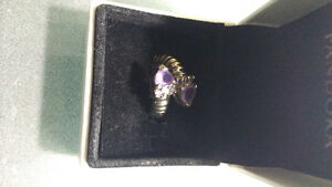 Silver Ring with Amethyst Stones!