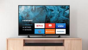 smart tv élément 40p,propre,led,1080p,wifi,youtub,netflix,boite