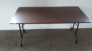 Two fold down tables brown $25  commercial white $75 London Ontario image 1