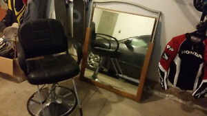Hairdresser chair and mirror $50