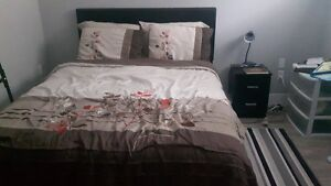 Bed, Matress, boxspring, chest and nightstand