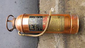 Antique Imperial fire extinguisher  brass and copper