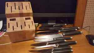 Pamper Chef knife set with block and honing tool