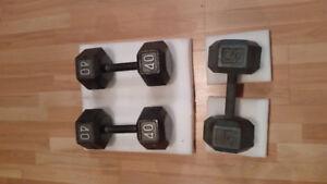Haltères 2 X40 lb (75$) & 1 X haltère 45 lb (40$)