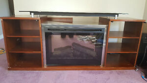 TV Stand with gas fireplace insert