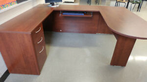 U-shaped Wooden Desk Unit and Chair