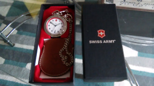 SWISS ARMY POCKET WATCH, POUCH, CHAIN NEW  Swiss Army stainl