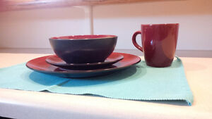 Red and Black Corelle Hearthstone Dish Set