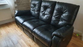 DFS black leather 3 seater sofa electric recliner