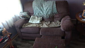 Loveseat and recliner matching pair