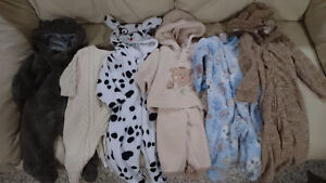 $20 for lot - Newborn unisex/boys/girls warm footy hoody onesies