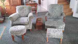 Couch with 2 arm chairs and foot stools Kingston Kingston Area image 4