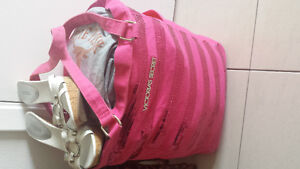 Women's brand name clothing lot with white Guess shoes and Victo