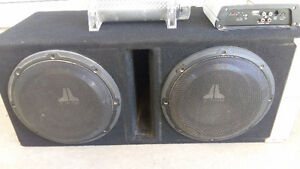 "2 10"" JL Subs with Capacitor and Amp"