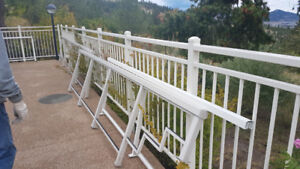 60+ Ft of Aluminum railings with glass