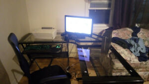 COMPUTER, DESK, CHAIR, PRINTER, GAMINF KEYBOARD AND GAMING MOUSE