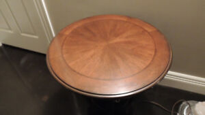 All wood round two tier table