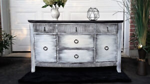 GORGEOUS WOOD BUFFET OR TV TABLE, SHABBY CHIC FURNITURE