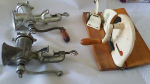 Vintage meat grinder and slicer