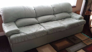 Genuine leather hide-a-bed couch