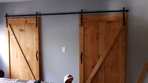 Sliding barn style doors and track for sale