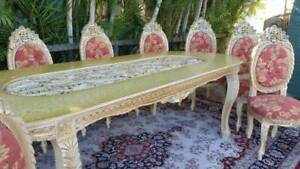 HUGE 10 LARGE Chairs & Table French Provincial LOUIS Dining Suite