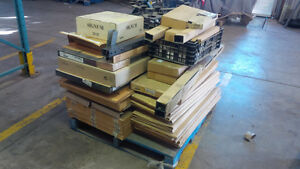 Office furniture, IKEA, some brand new in box, on 5 skids/carts