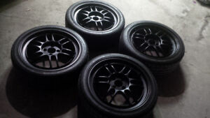 "17"" Enkei RPF1 (Black) 4x100 w/ Tires MINT!"