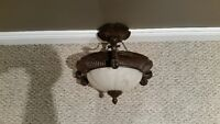 """Newer 14"""" hanging frosted glass dome light fixture"""