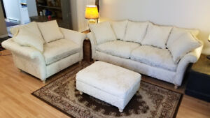 Custom down filled sofa, oversized chair and a half and ottoman