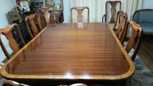 ANTIQUE DINING SET - DUNCAN PHYFE TABLE AND CHAIRS