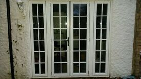 uPVC French doors and side windows