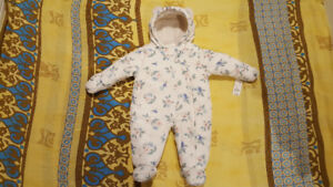 Baby girl winter overall plus hat