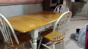 Wooden chairs and table