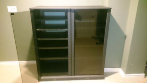 PRICED TO GO! I  Toshiba entertainment cabinets with glass doors