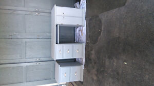 Solid wood desk and filing cabinet