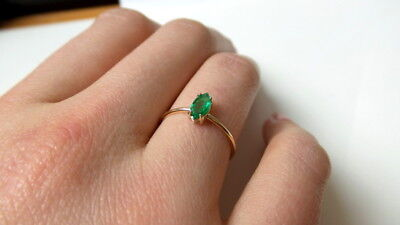 EMERALD RING 14K YELLOW GOLD NATURAL MARQUISE SHAPED EMERALD 0.32CT DAINTY RING