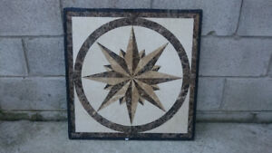 "24"" x 24"" POLISHED MARBLE INLAY FLOOR MEDALLION"