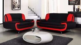 100 % CHEAPEST PRICES BRAND NEW BLACK AND RED 3 AND 2 SEATER CAROL LEATHER SOFA 3 +2 SEATER SOFA