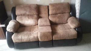 reclining couch with centre storage
