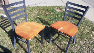 2 - Wood and metal dining chairs