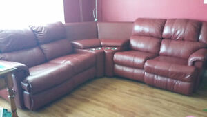 REDUCED!!! Red Leather Sectional Entertainment Chesterfield Unit St. John's Newfoundland image 5