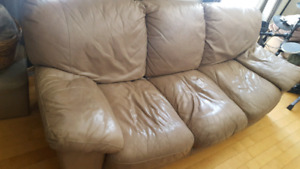 Beige leather couch 3 seat