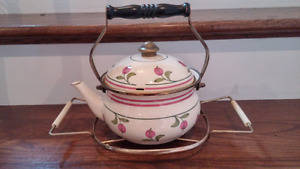 Vintage Enameled Tea Pot and Hot Plate Holder