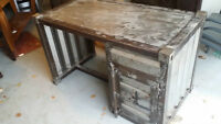 Metal desk and cabinet