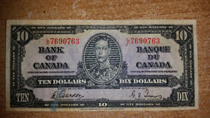 1937 10$ BILL IN GREAT CONDITION FOR THE YEAR. ONLY 55$.........